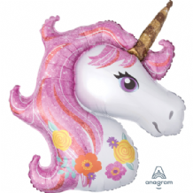 Unicorn Flowers Large Foil Balloon 1pc